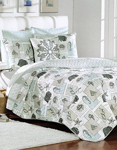 Nicole Miller Quilt Set Sea Life Fish Seashell Bedspread 4pc Full