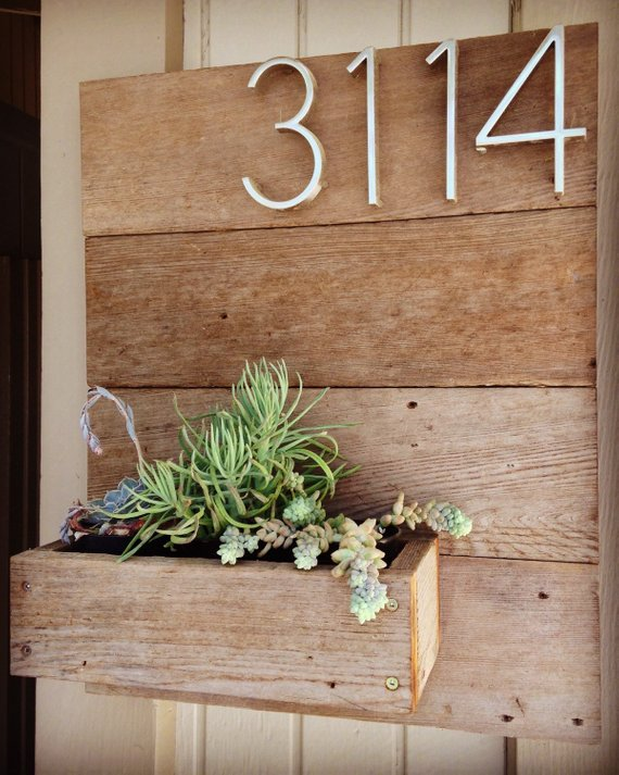 Wooden Address Number Planter With Images House Numbers Diy