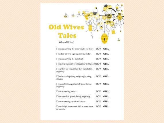 Old Wives Tales Gender Reveal Game Boy Or Girl Printablebee Etsy Bee Baby Shower Theme Bumble Bee Baby Shower Bee Theme Baby Shower Games