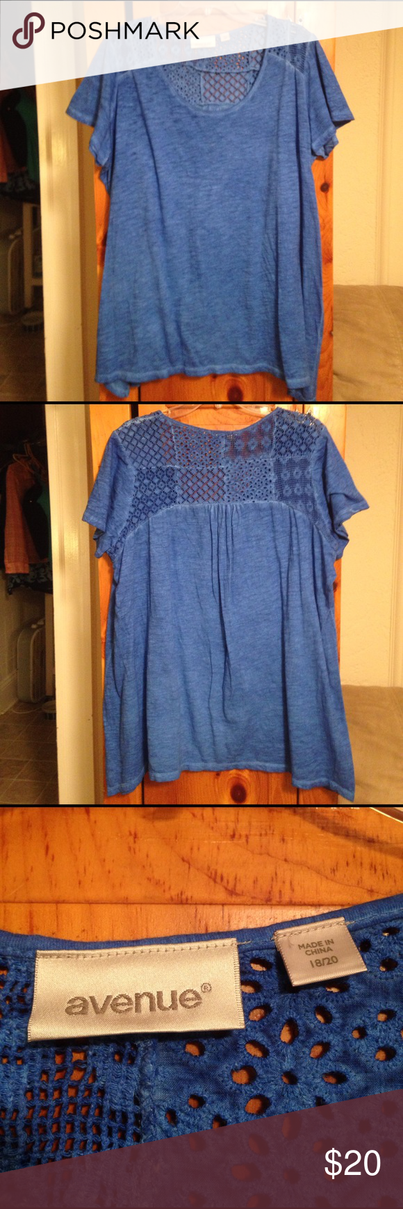 "AVENUE 100% COTTON LACE S/S BLOUSE TOP 18/20 2X SUPER PRETTY like new pre-owned excellent condition 100% cotton blue lace short sleeve top by AVENUE! Size women's plus 18/20 or 2X. Chest: 24.5"" across lying flat. Length: 29.5"" and 2 sides are 32"". Avenue Tops Blouses"
