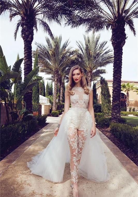 Illusion Jumpsuits Wedding Dresses With Detachable Train 2019 Lace Appliques Cap Sleeves Tulle Overskirt With Pocket Bridal Gowns #bridesmaidjumpsuits