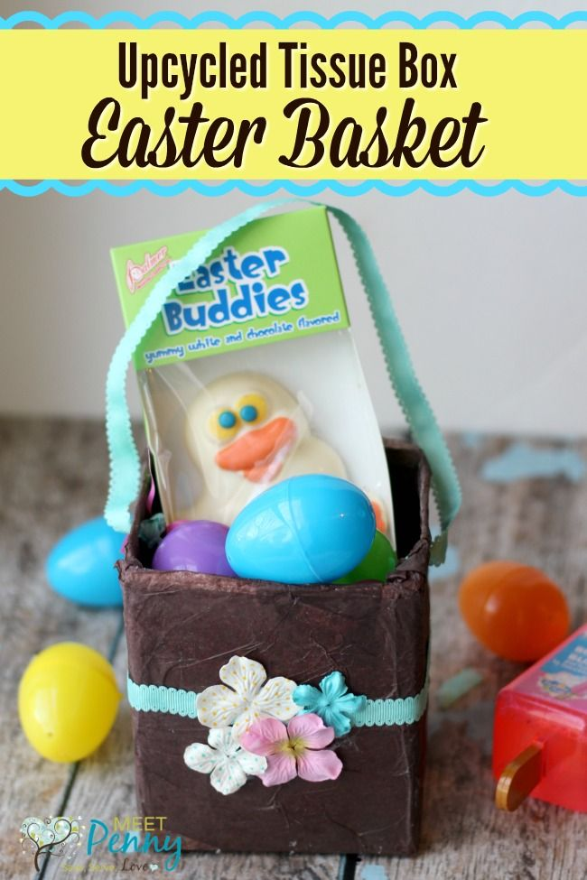 Upcycled tissue box easter basket homemade easter baskets such a cute and simple homemade easter basket tutorial the kids would love to make negle Choice Image