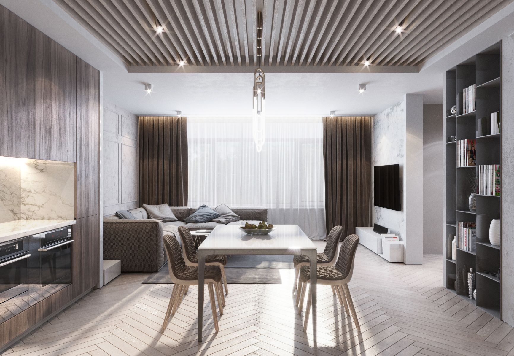 Living room with kitchen: project, design. Interior of kitchen combined with living room 61