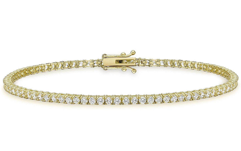 Carissima Gold 9 Ct Yellow Gold Cubic Zirconia Round Tennis Bracelet Of 19 Cm 7 5 Inch Beautiful Jewelry Gold Amazing Jewelry