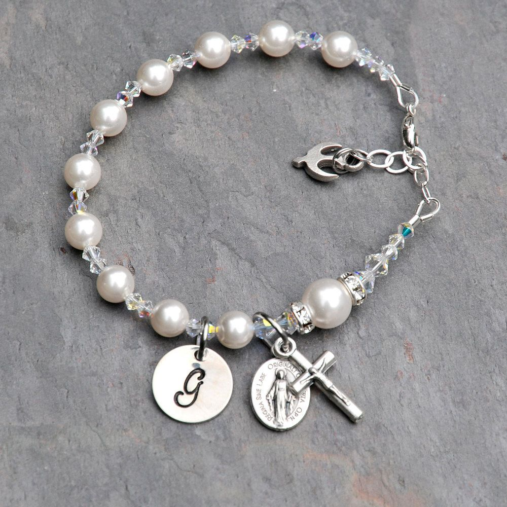 b1a1d9efe Confirmation Gift for Girls - Personalized Catholic Rosary Bracelet -  Sparkly Clear Crystal, Swarovski Pearl - Sterling Hand Stamped Initial by  ...