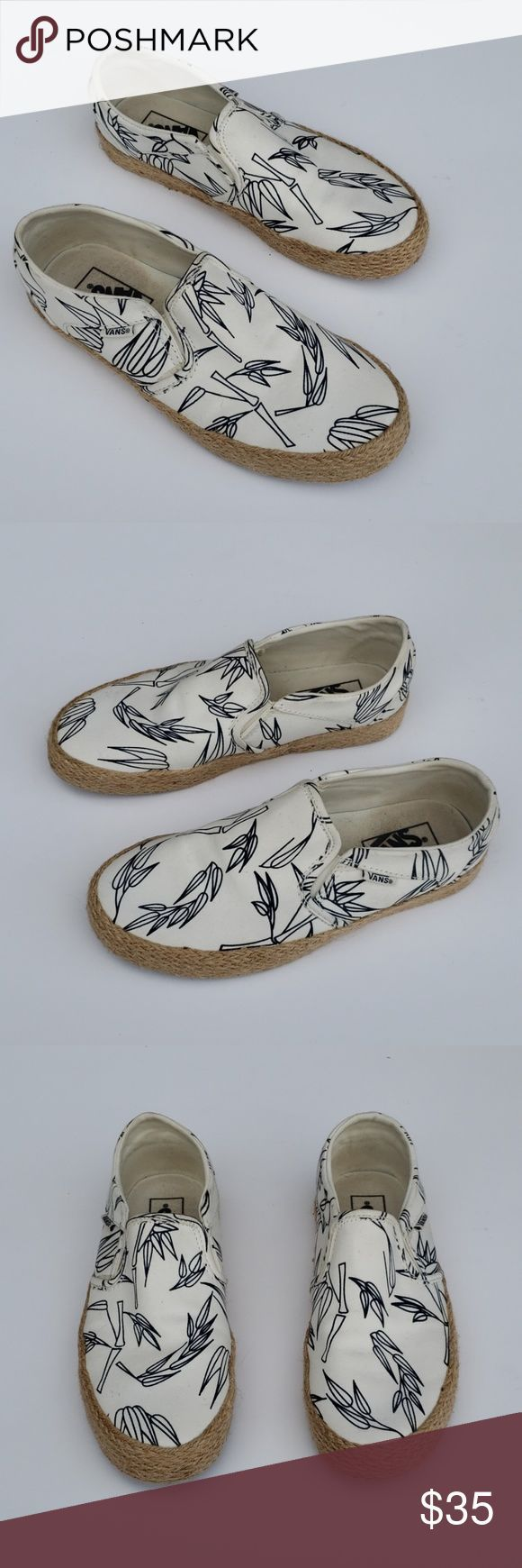 Vans bamboo slip on shoes Rare Excellent used condition Adorable white and navy  My Posh Picks