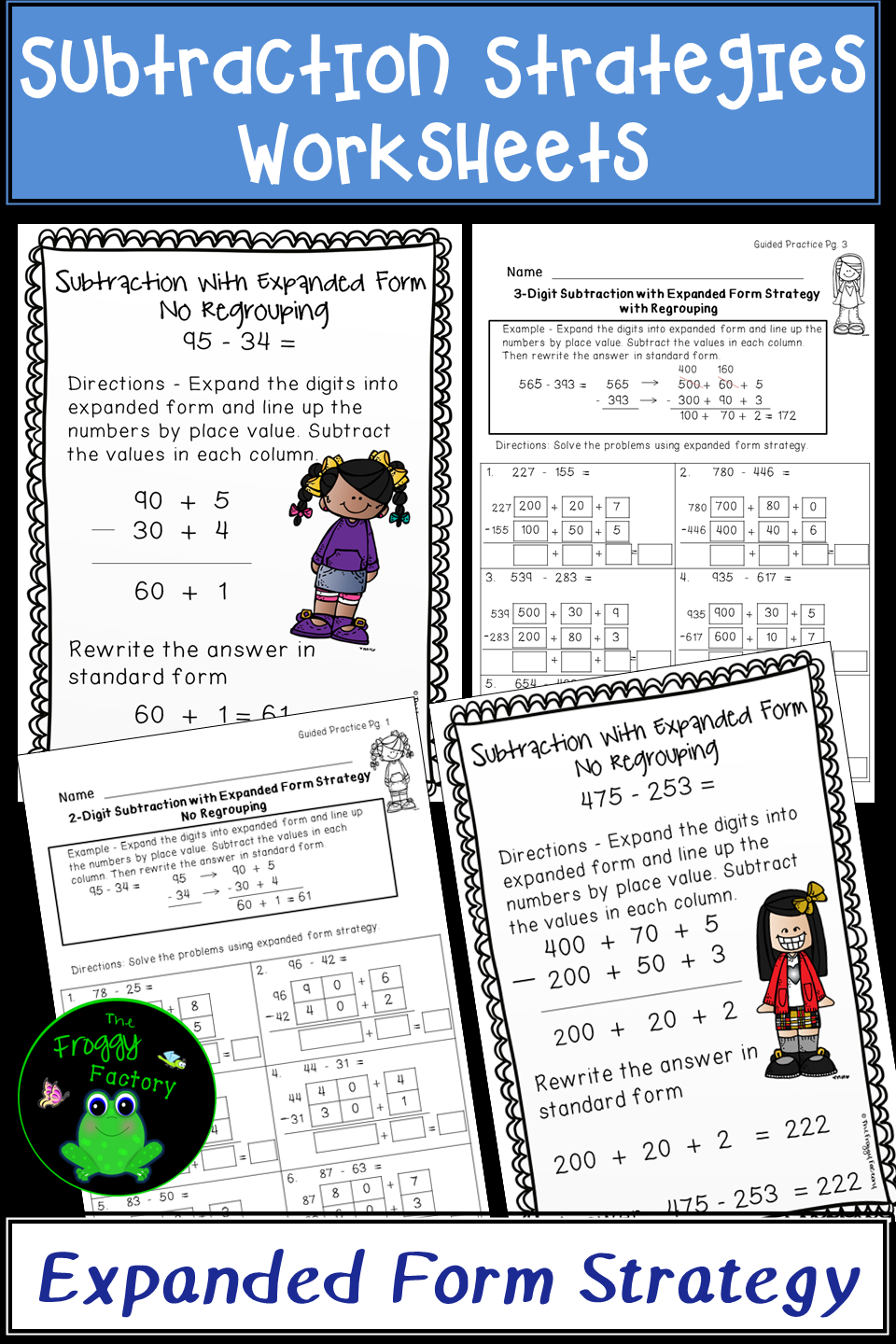 Subtraction Strategies Worksheets - Expanded Form Bundle Volume 1