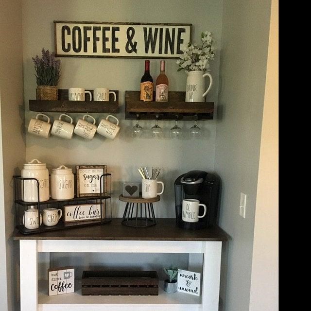 Wood Coffee and Wine Sign, Coffee Bar Decor, Gift