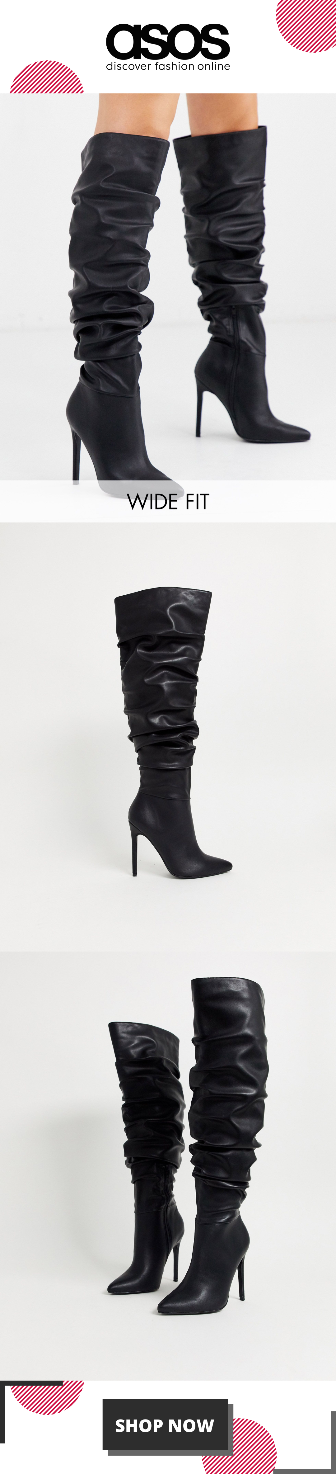 ASOS DESIGN Wide Fit Carlotta slouch stiletto knee boot in black