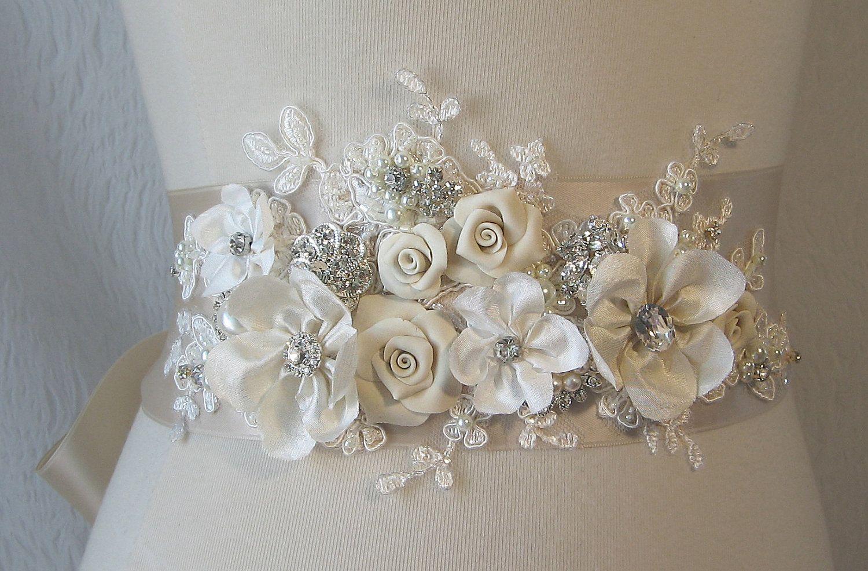 Champagne Bridal Sash, Ivory Wedding Belt, Rhinestone and