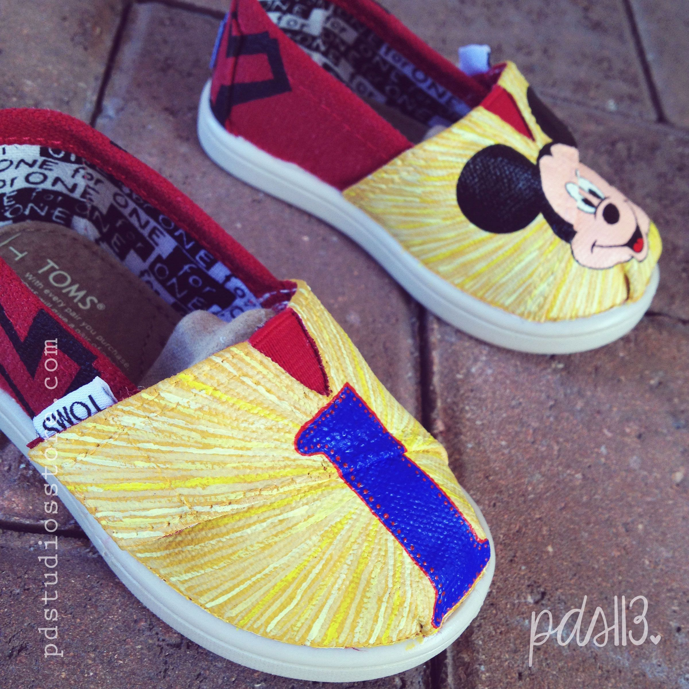 Mickey First Birthday Tiny TOMS Hand Painted TOMS www.pdstudiosstore.com