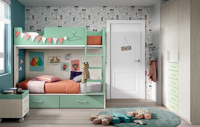 lit superpos enfant compos la partie inf rieure de deux tiroirs spacieux avec roues le lit. Black Bedroom Furniture Sets. Home Design Ideas