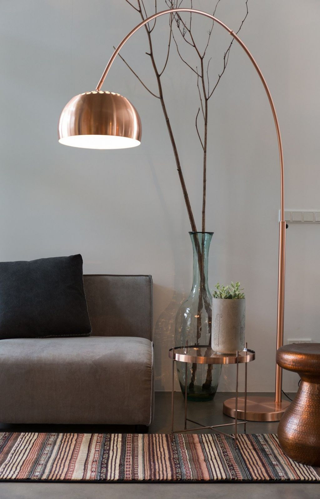 Living Room With Grey Walls And Sofa Also Copper Arc Floor Lamp ...