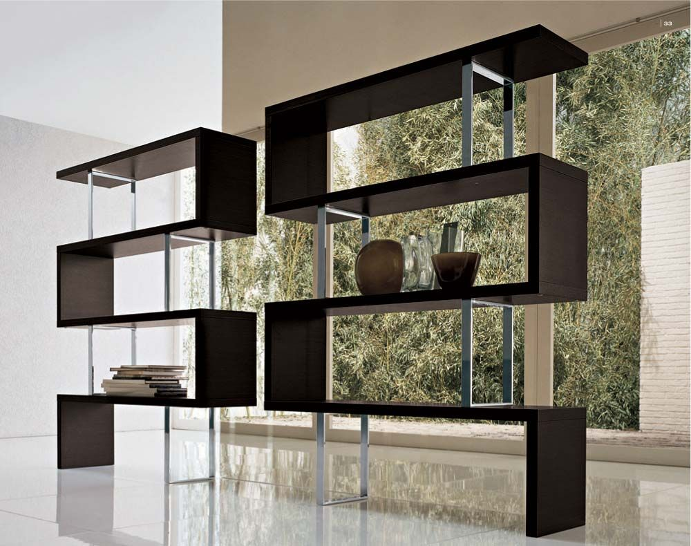Contemporary bookshelves furniture and bookcases ideas knockout furniture modern free stand dark - Contemporary modern home design ideas with decor ...