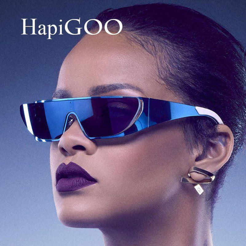 49ad6c853 HapiGOO 2016 New Fashion Vintage Superstar Rihanna Shield Sunglasses Women  Brand Designer Men Metal Mirror Goggle
