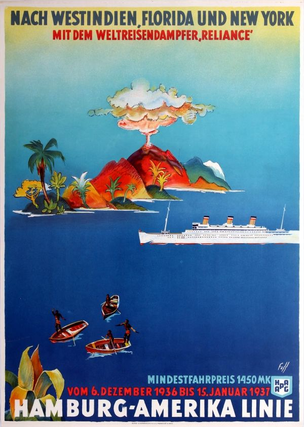 Original Vintage Posters -> Travel Posters -> HAPAG West India Florida New…