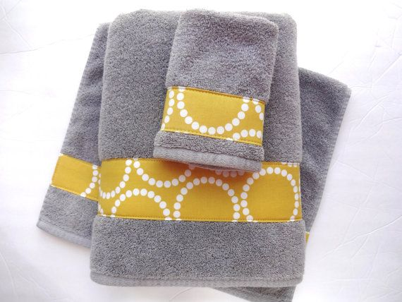 Pick Your Size Towel Yellow And Grey Towels Gray And By Augustave 22 00 Gray Towels Yellow Bathroom Decor