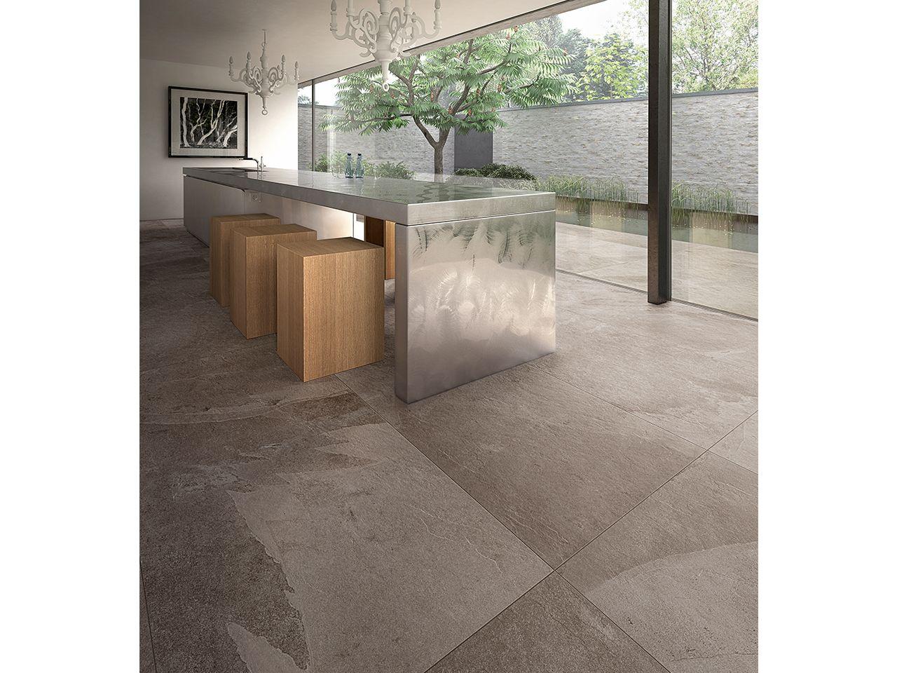 Gres porcellanato effetto ardesia serie absolute formato rettificato 75x150 colore grigio - Piastrelle di ardesia ...
