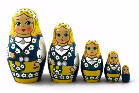 "MATRYOSHKA Semenov Nesting Dolls /""Three piglets/"" Russian Hand Painted Set 5 pcs."
