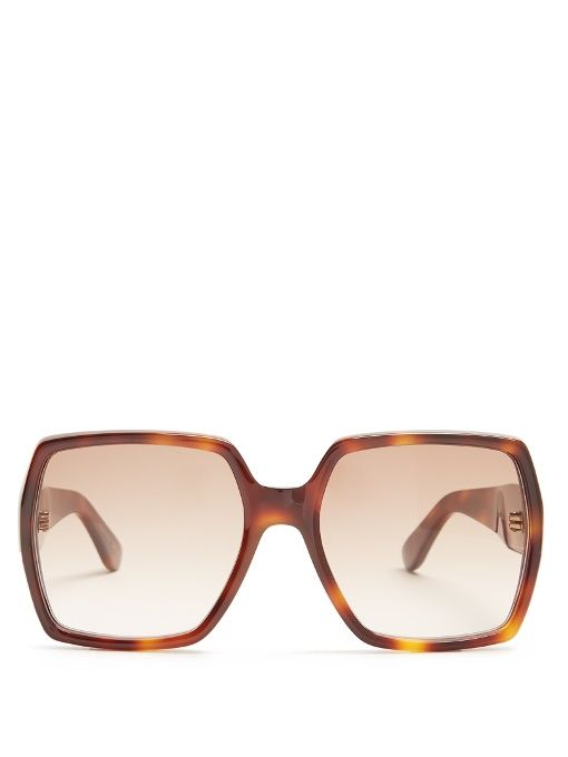 Rectangle-frame acetate sunglasses Saint Laurent