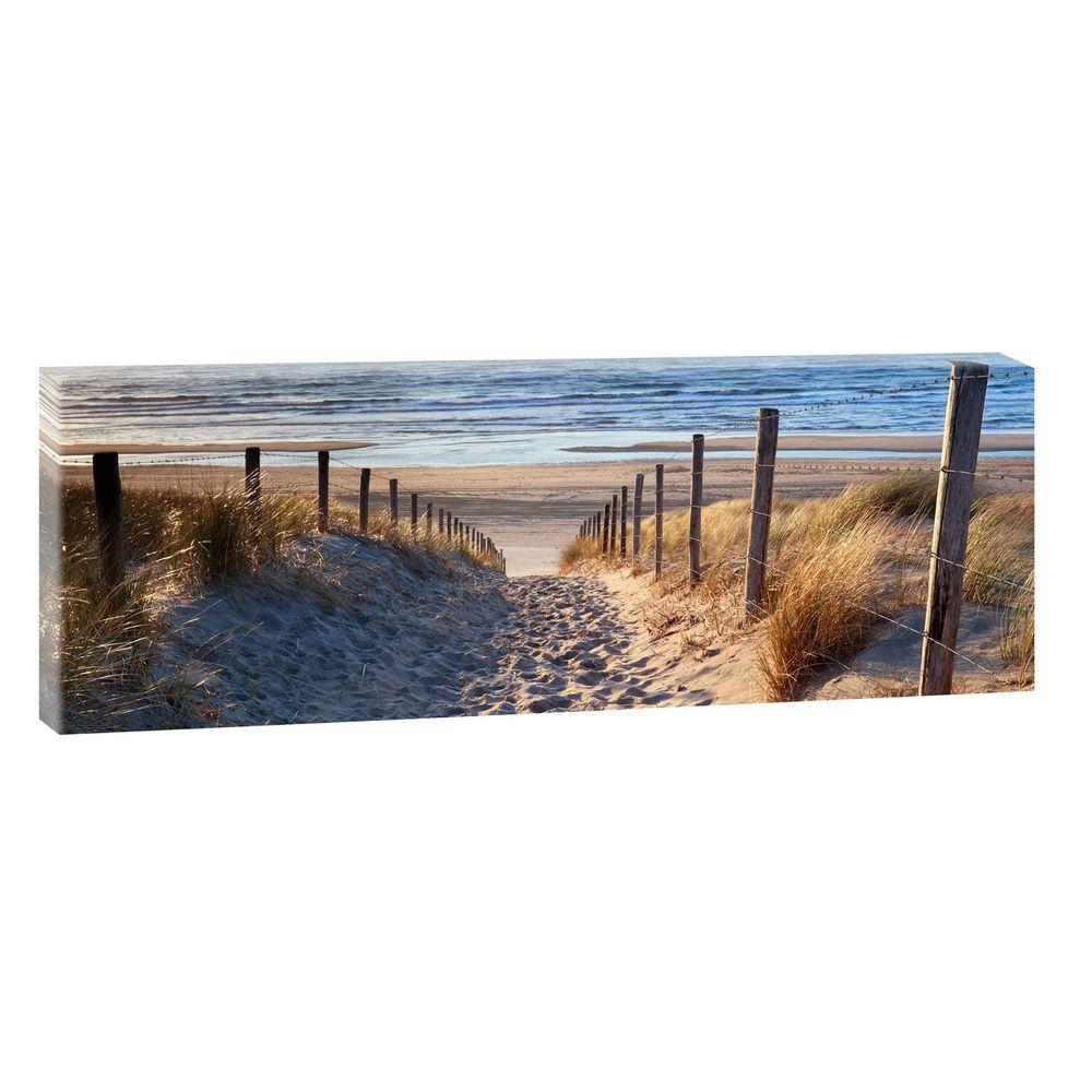 weg zum strand bild strand meer keilrahmen leinwand posterxxl 120cm 40cm 20544. Black Bedroom Furniture Sets. Home Design Ideas