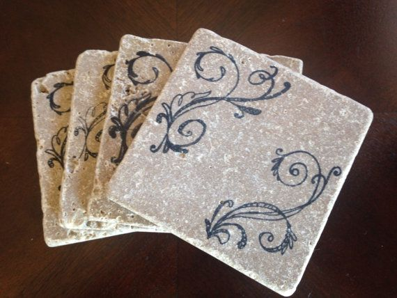 Stamped Stone Coasters Personalized Stone by DanielleCherieDesign