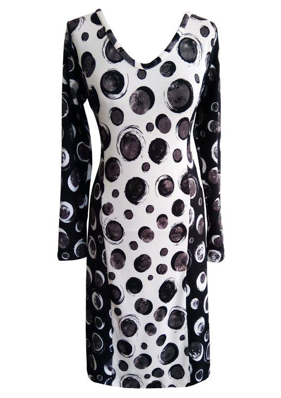 Black and White Polka Dots Dress, Plus Size Dress, Women Winter ...