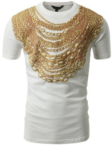 5966c06adda5 SMITHJAY Mens Hipster Hip-Hop 3D Gold Chain Embossed Swag T-Shirt WHITE