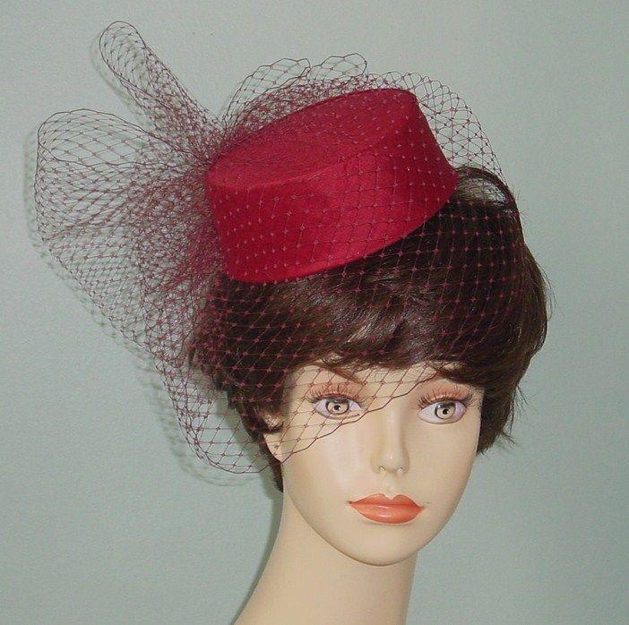 Silk Dupioni Pillbox Wedding Hat Birdcage Veil