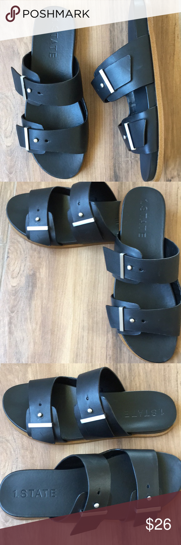 85fc4cf39e1b STATE Leather Slide Sandal 1. State Ocel Black Leather Slide Sandal Size