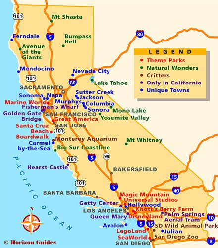 Explore California 1 Vacation Travel Guide hotels maps
