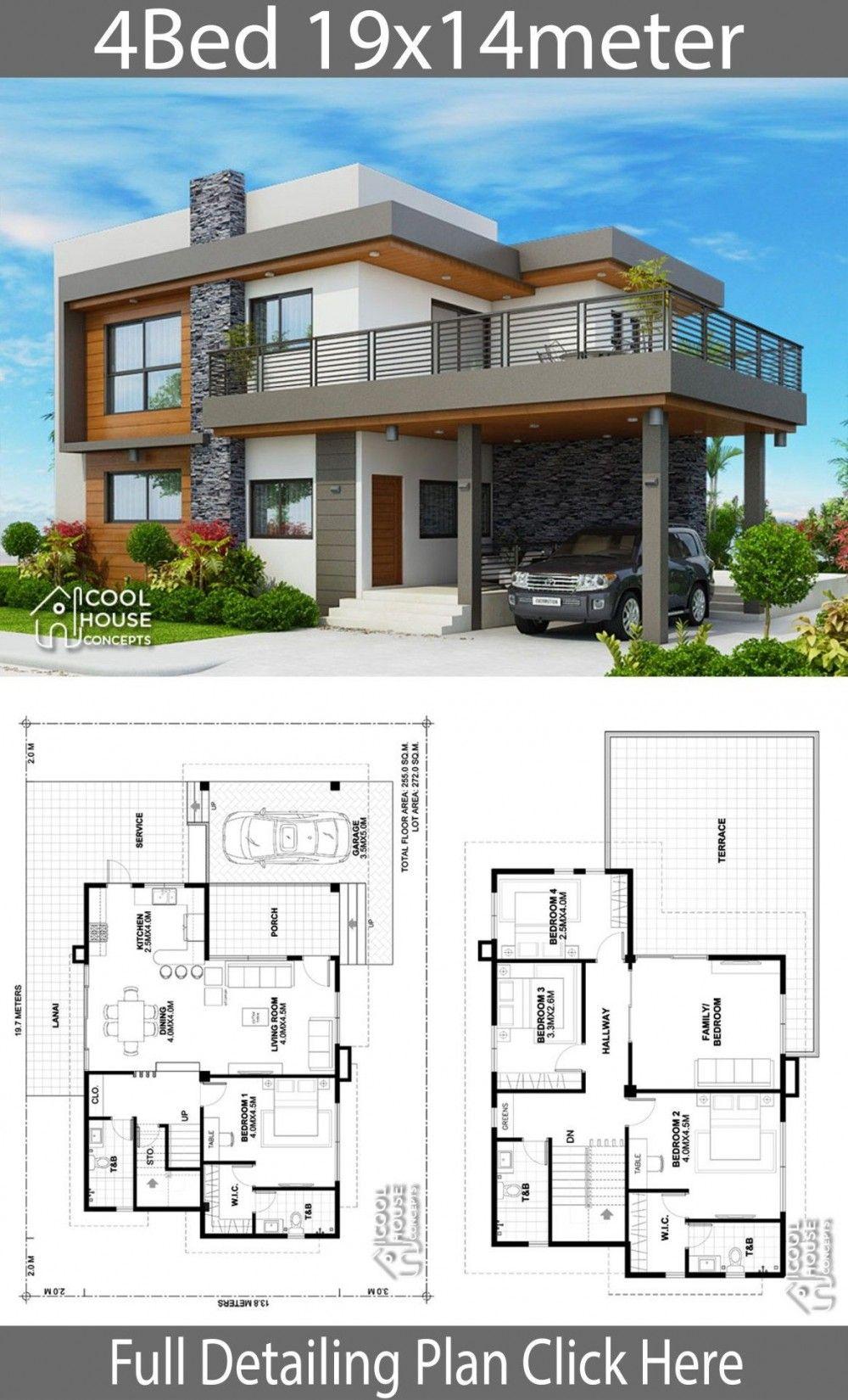 Plan De Design De Maison 19x14m Avec 4 Chambres Duplex House Design Modern House Floor Plans House Architecture Design
