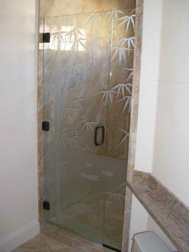 Bamboo On Qinghai Lake Glass Shower Doors By Sans Soucie Art Glass