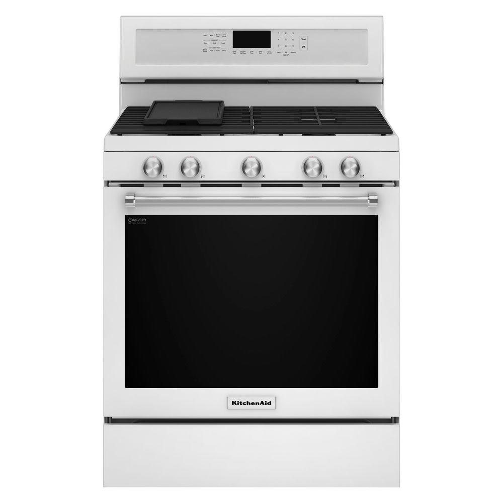 Kitchenaid 5 8 Cu Ft Gas Range With Self Cleaning Oven In White Kfgg500ewh The Home Depot Self Cleaning Ovens Oven Cleaning Kitchen Aid