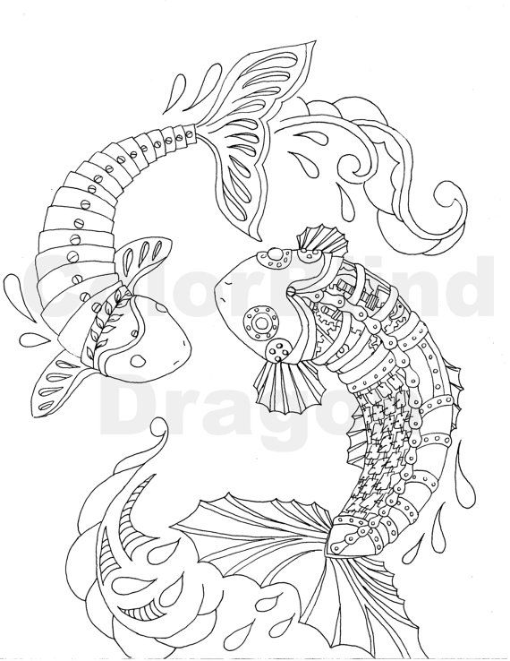 steampunk koi fish coloring page coloring pages koi japanese pond
