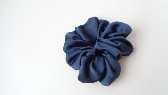 scrunchies scrunchy scrunchie navy Blue hair  Scrunchie,  hair scrunchie  ,Chouchou, hair accessorie #hairscrunchie