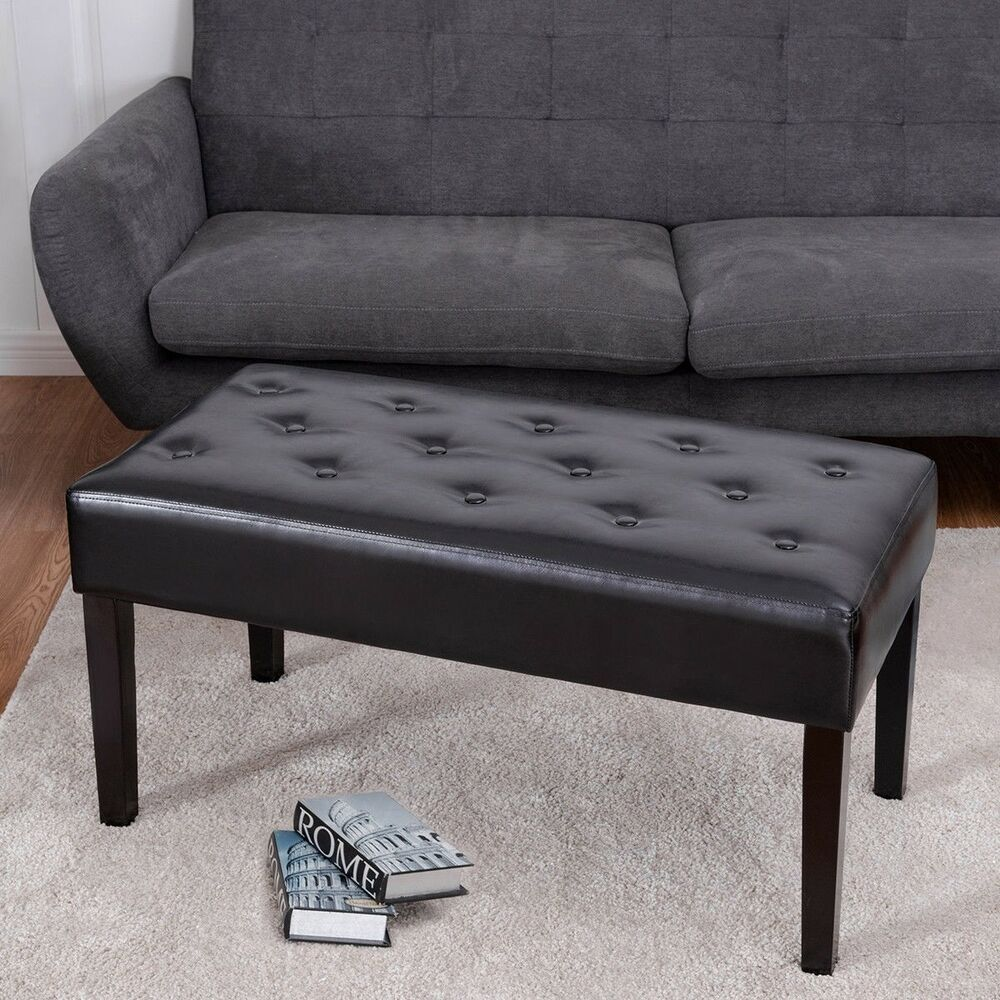 Rectangle PU Leather Ottoman Bench Tufted Foot Rest Stool