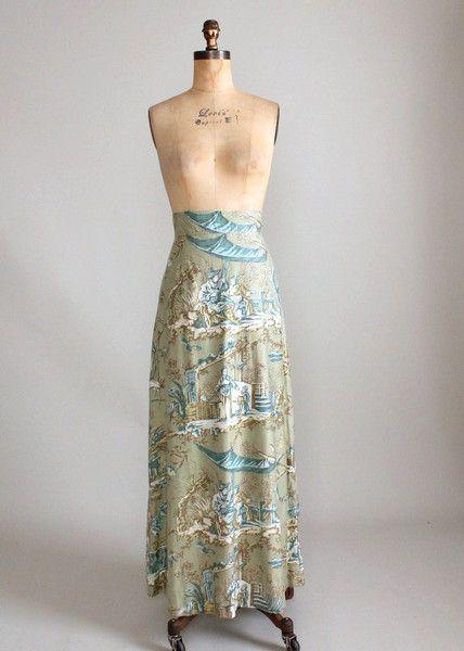 1960s toile maxi skirt