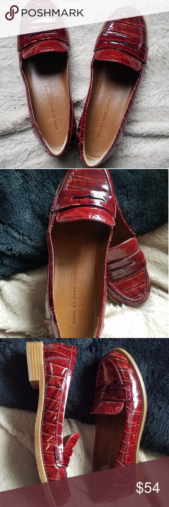 Red loafer flats 100%leathe by Marc Jacobs | Red loafers ...