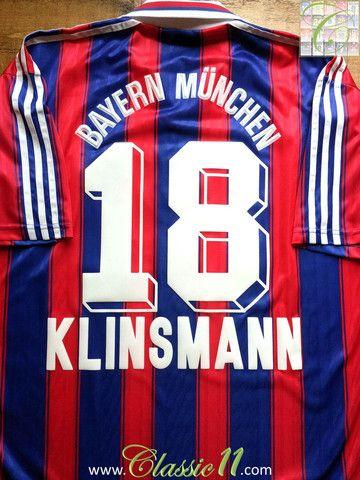 quality design f5589 e1b74 Relive Jürgen Klinsmann s 1995 1996 season with this vintage Adidas Bayern  Munich home football shirt.