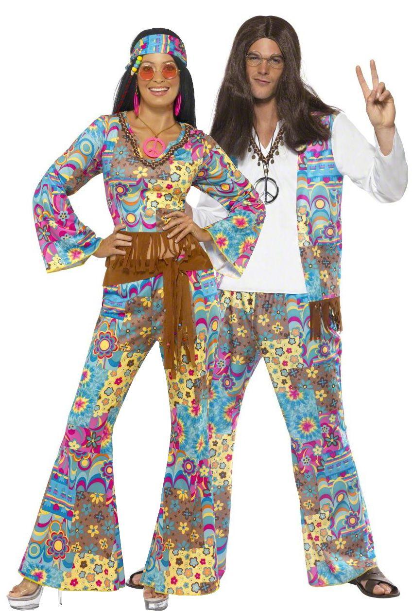 Évasée Pantalon Femme Denim Pour Femme Adulte 60 s 70 s Hippy Hippie Disco Fancy Dress