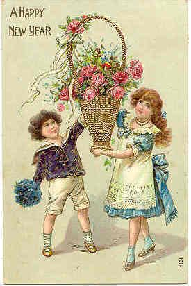 A Happy New Year 1909 German Vintage Post Card Vintage Happy New Year Vintage Postcards New Year Postcard