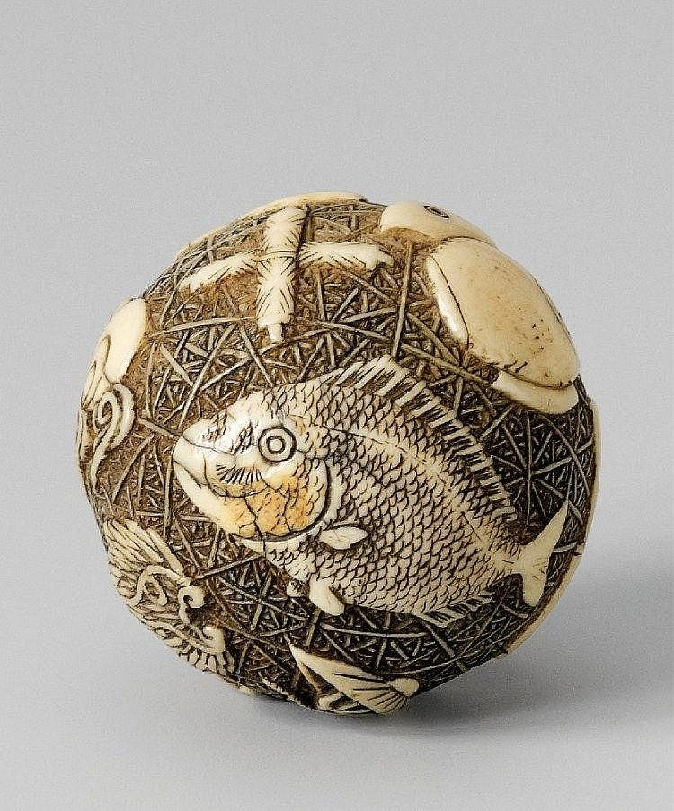 An unusual spherical ivory netsuke of takaramono. Late 19th century The large ball is carved with takaramono such as Daikoku's mallet, scrolls, flaming tama, key (kagi), kakure gasa and kakure mino, treasure bag, shippô, chôji, along with Ebisu's eboshi and sea bream and Daikoku's cap, all on a asa-no-ha diaper ground. Signed Kiyokatsu in a fudô-shaped reserve.