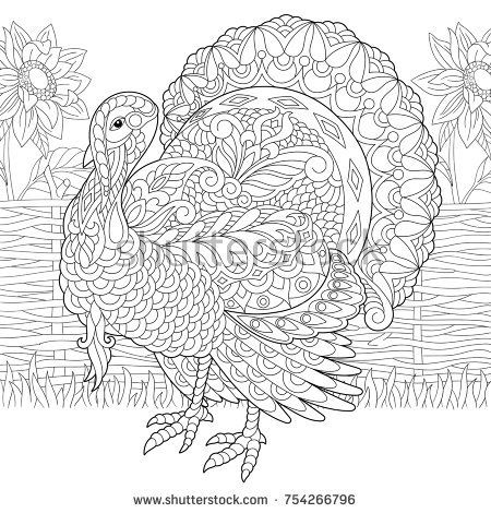 Coloring page of turkey and sunflowers on the farm yard ...