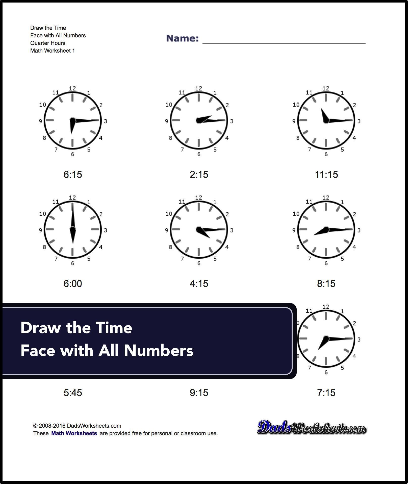 Free Worksheet Dads Worksheets telling analog time worksheets full half quarter five minute interval