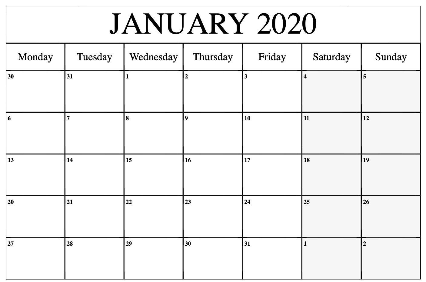 January 2020 Calendar Printable Monday 2020calendar