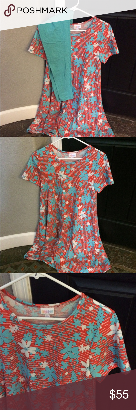 Lularoe SET Carly / OS leggings LLR SET XS Carly dress with OS leggings made in China. Cotton dress fabric. Cute LuLaRoe Dresses Midi