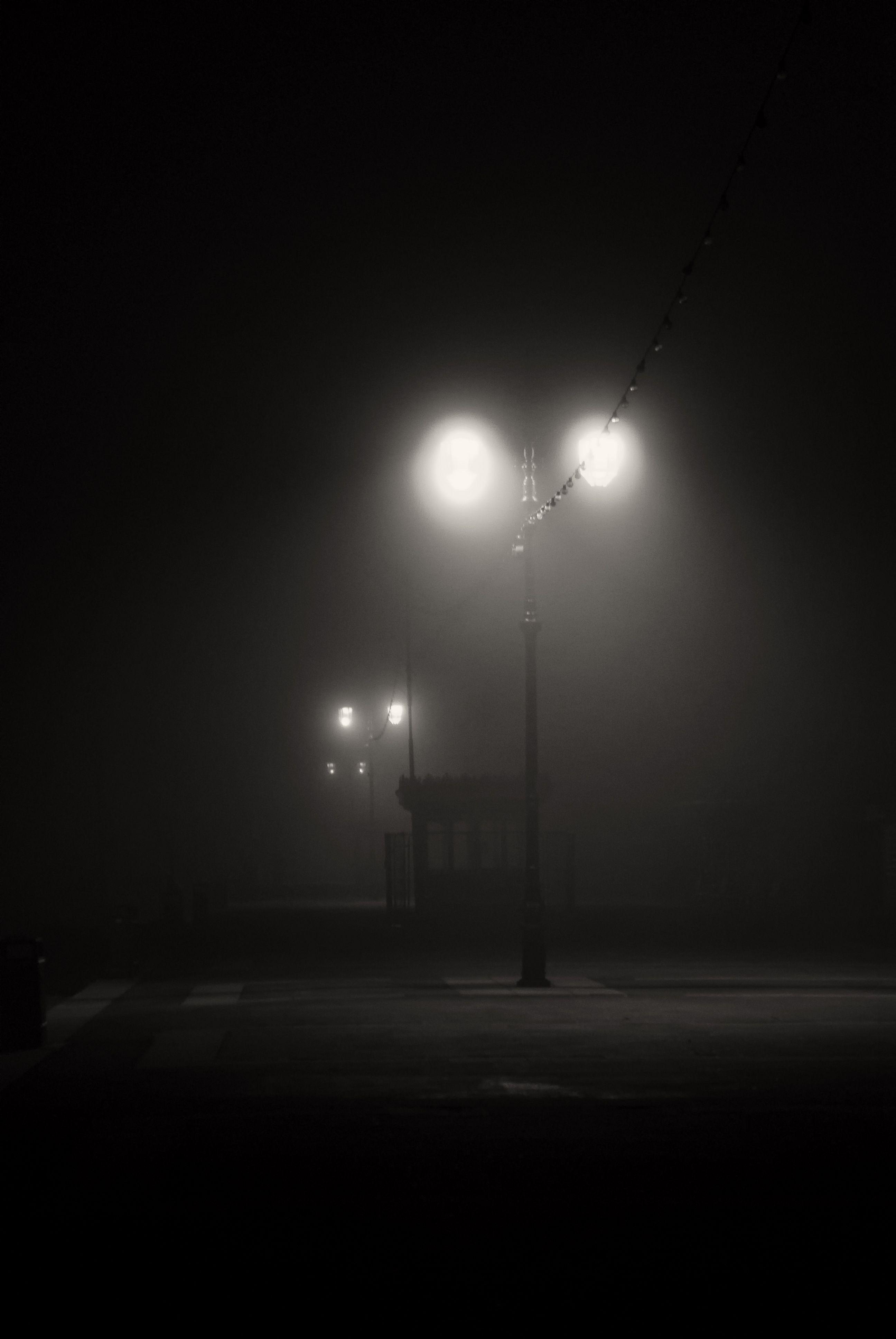 Foggy Night Photography Blackandwhite Night Fog Night Aesthetic Conceptual Photo Night Photos Dark street night fog light mist