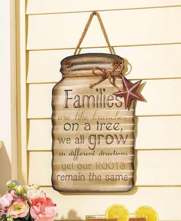 Hanging Metal FAMILY ROOTS Mason Jar Wall Sign Rustic Country ...