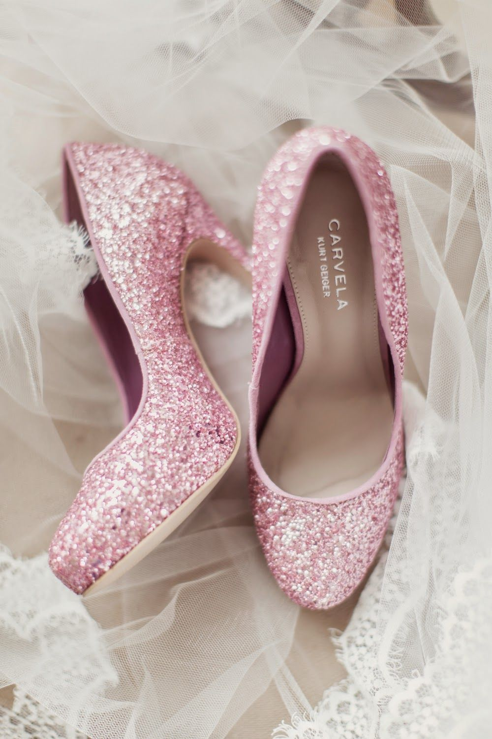 Peonie cole at home pink and glittery carvela bridal shoes